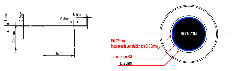 Super short capacitive switch